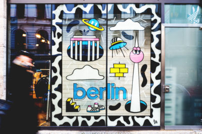 Ju Schbee Adidas Originals Shop Window Berlin front outside people walking by