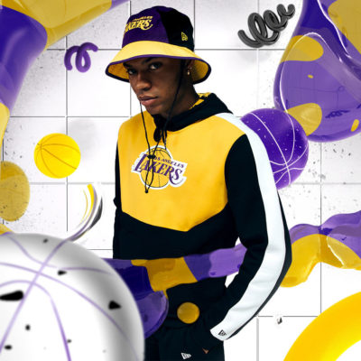 Ju Schnee New Era LA Lakers 3 D Rendering Illustration Campaign Bucket Hat square